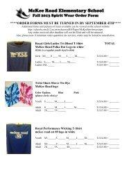 2013 Fall Spirit Wear Order Form