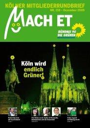 Nr. 218, Dezember 2009 - Bündnis 90/Die Grünen Kreisverband Köln