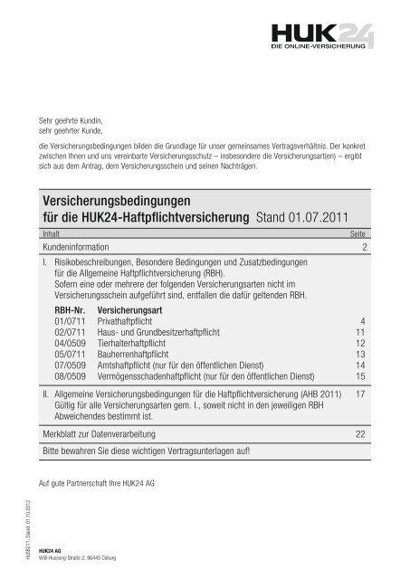 Versicherungsbedingungen Fur Die Huk24 Haftpflichtversicherung
