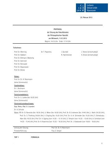 23. Februar 2012 PROTOKOLL der Sitzung des Fakultätsrates der ...