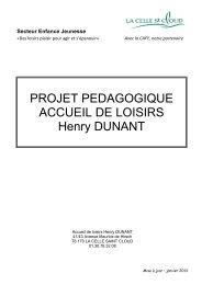 PROJET PEDAGOGIQUE ACCUEIL DE LOISIRS Henry DUNANT