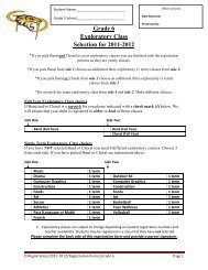 Grade 6 Programming and Course Selections