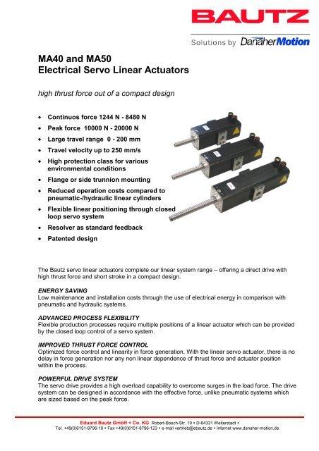 MA40 and MA50 Electrical Servo Linear Actuators