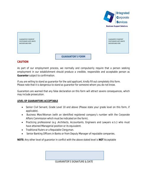 Guarantors' forms - Integrated Corporate Services Limited