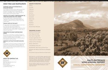 hai5249 annual report.rd4 - Haiti Outreach