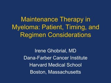 Maintenance Therapy in Myeloma - Educational Concepts Group