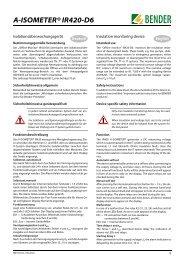 A-ISOMETER® IR420-D6 - Bender Benelux BV