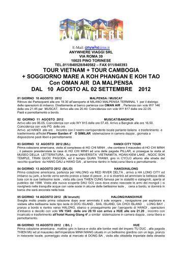 2012 ESTATE TOUR VIETNAM+CAMBOGIA+ ... - Anywhere Viaggi