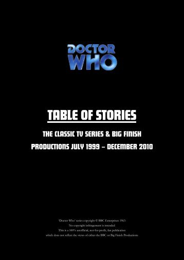 Doctor Who - Table of Stories (2010 Update) - The History of the ...