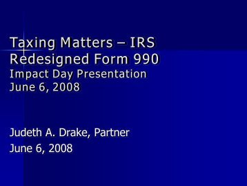 Taxing Matters – IRS Redesigned Form 990 - Deloitte