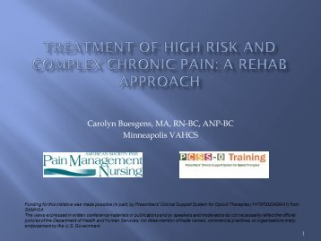 Treatment of Complex and High Risk Chronic Pain - American ...