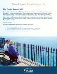 Plan Provider Summary Guide - Sierra Health and Life