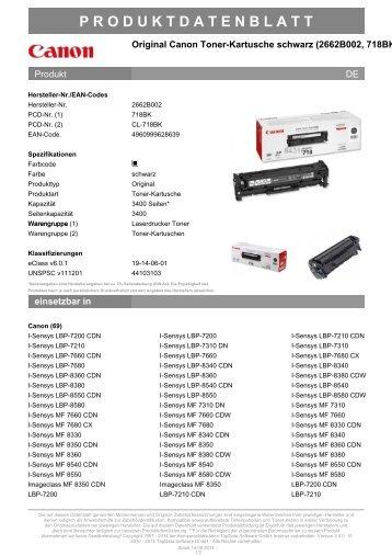 Canon Toner-Kartusche schwarz (CL-718BK, 718BK)