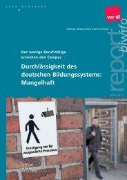 Durchlässigkeit des deutschen Bildungssystems: Mangelhaft