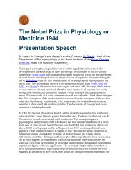 The Nobel Prize in Physiology or Medicine 1944 Presentation Speech
