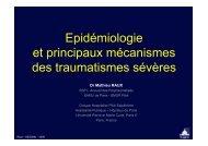 Epidémiologie et principaux mécanismes des traumatismes sévères