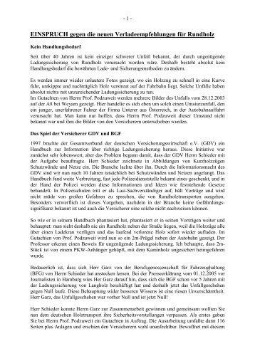einspruch gegen die neuen verladeempfehlungen fr rundholz - Einspruch Gegen Versumnisurteil Muster