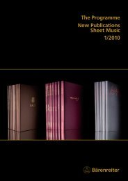 Bärenreiter The Programme New Publications Sheet Music 1/2010