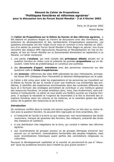 """""""Politiques foncières et réformes agraires"""" - Agter"""