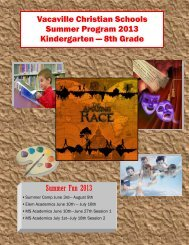 K-6th Grade Summer Camp - Vacaville Christian Schools