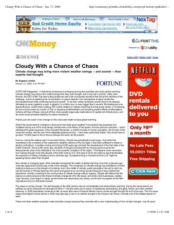 Cloudy with A Chance of Chaos - Insurance in a Climate of Change