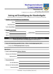 Antrag auf Ermäßigung von der Hundeabgabe 2013 ... - Langenwang