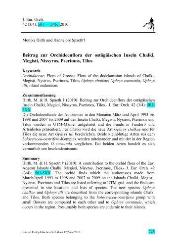 Beitrag zur Orchideenflora der ostägäischen Inseln Chalki ... - Tilos