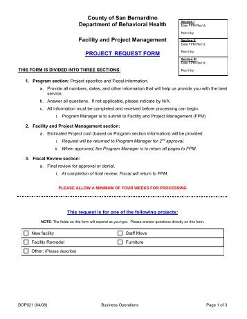 Auxiliary Space NonCapitalSmall Project Request Form  Facilities