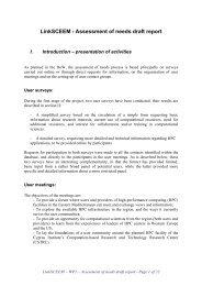 LinkSCEEM - Assessment of needs draft report
