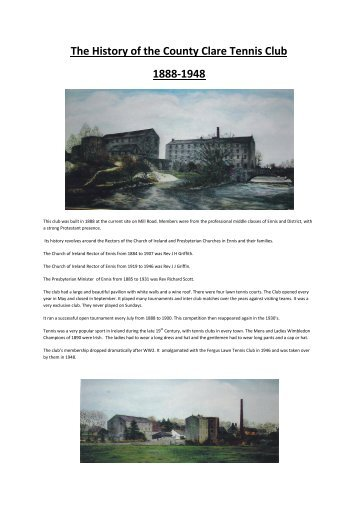 The History of the County Clare Tennis Club 1888-1948