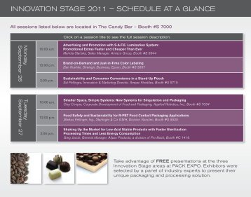 INNOVATION STAGE 2011 – SCHEDULE AT A GLANCE - Pack Expo