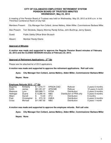 Wednesday, May 23, 2012 - City of Kalamazoo
