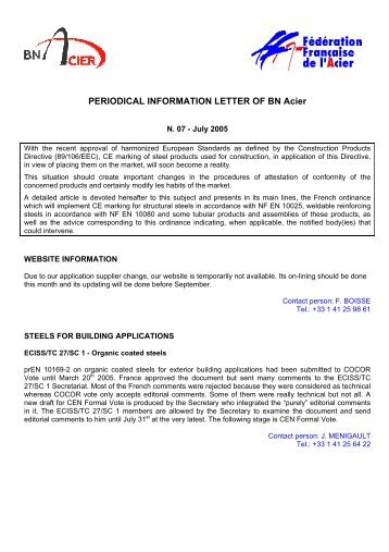PERIODICAL INFORMATION LETTER OF BN Acier