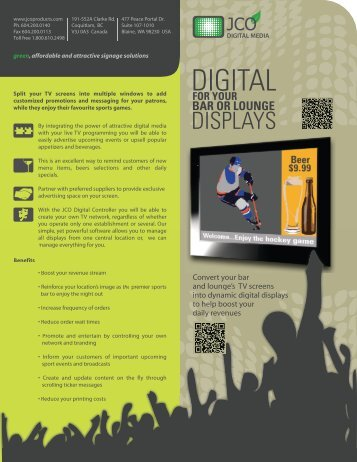 Bar, Pub or Lounge Digital Display Brochure - JCO Products