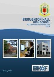 Sixth Form Prospectus 2013 - Broughton Hall High School