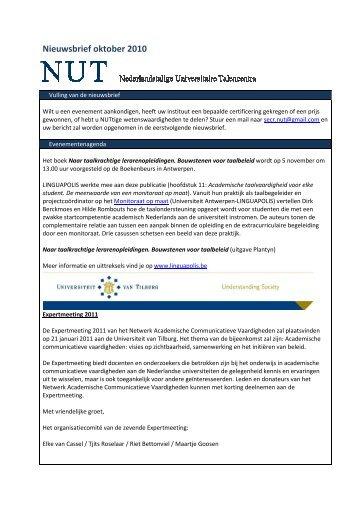 Nieuwsbrief oktober 2010 - NUT