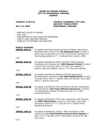 BOARD OF ZONING APPEALS - City of Mishawaka