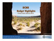 Budget Highlights - The Nevada Department of Conservation and ...