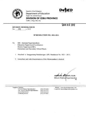 Memo No. 04, S. 2012 - DepEd Cebu Province
