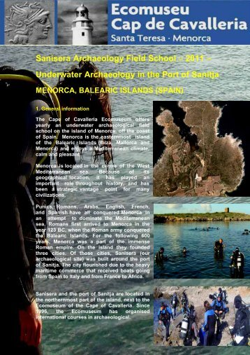 Underwater Archaeology in the Port of Sanitja - Sanisera Field School