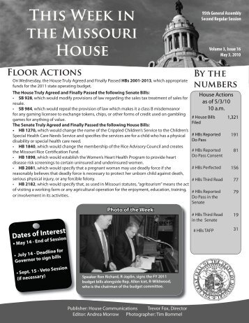 May 3, 2010 - Missouri House of Representatives