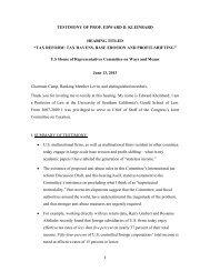 1 TESTIMONY OF PROF. EDWARD D. KLEINBARD HEARING ...