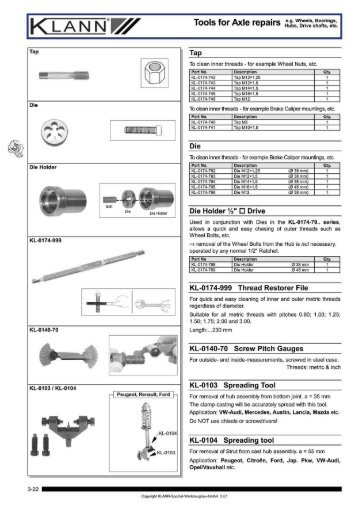 AN Tools for Axle repairs fiti - Tcltools.com