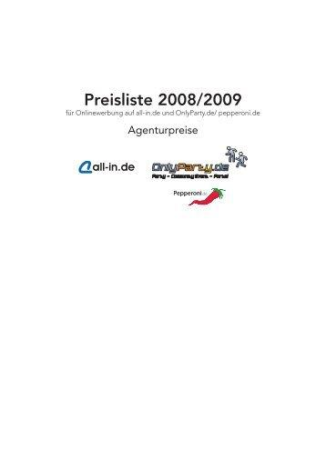 Preisliste 2008/2009