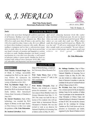 Jul - Aug 2011 - ramniranjan jhunjhunwala college