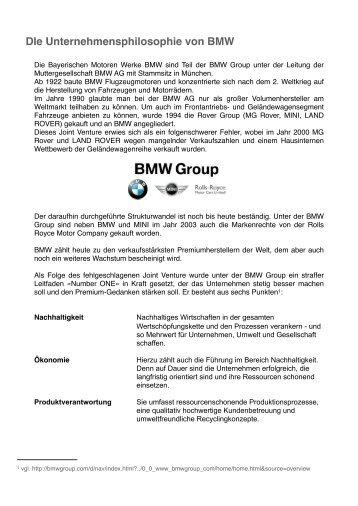 DIe Unternehmensphilosophie von BMW