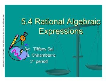5.4 Rational Algebraic Expressions
