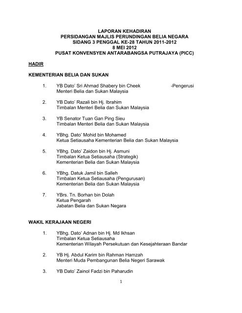 Laporan Persidangan Majlis Perundingan Belia Negara Sidang 3