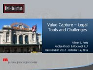 Value Capture – Legal Tools and Challenges - Rail~Volution