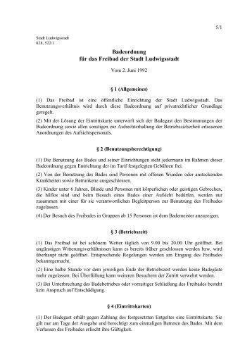 Badeordnung für das Freibad der Stadt Ludwigsstadt